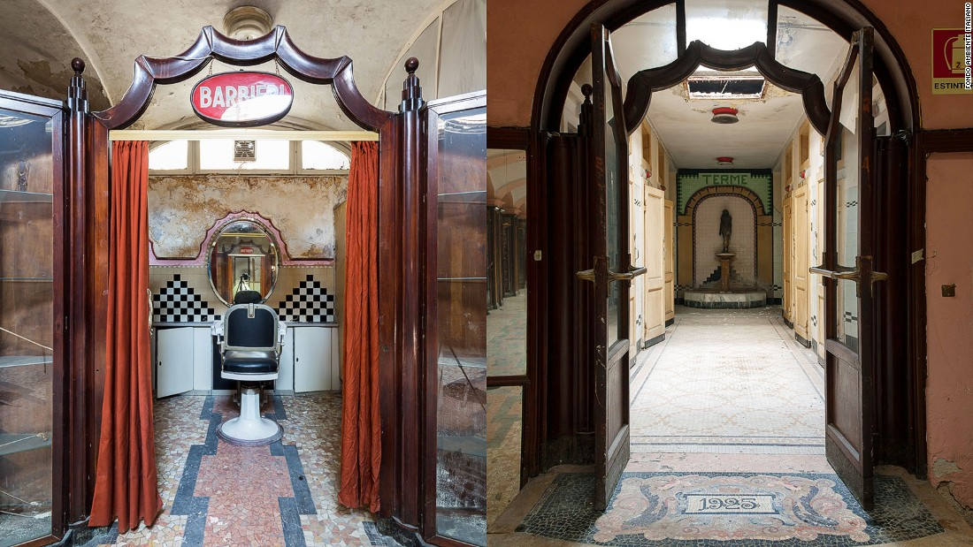 "Visitors can still see the 30 public ""day baths"" and pools, the barber shops, travel agencies, beauticians, post offices, bank, currency exchange stands and public telephones."