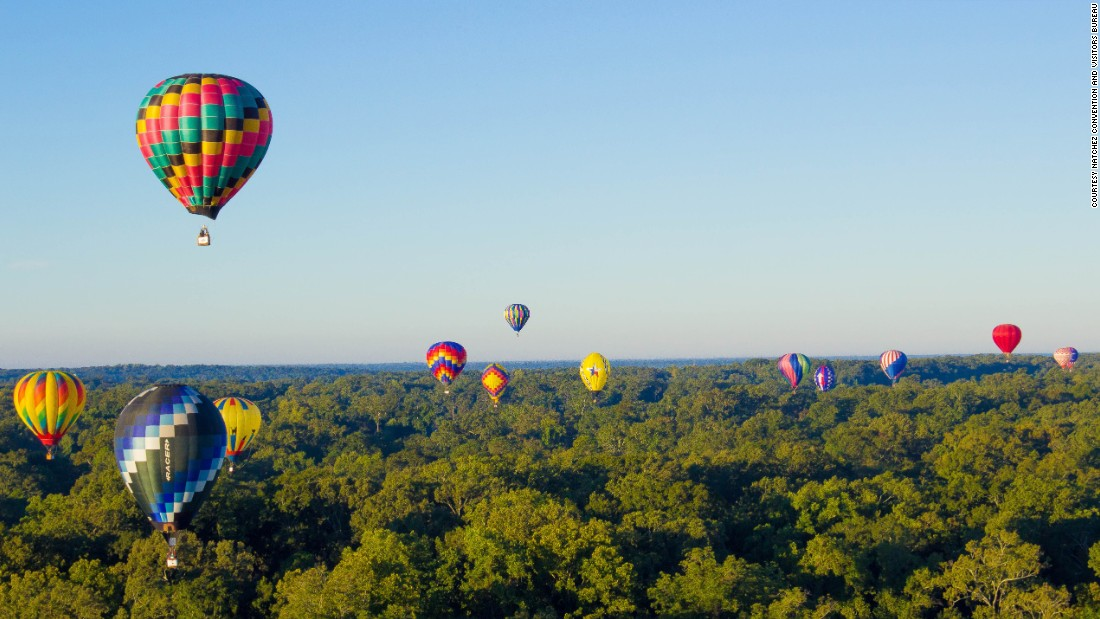 Natchez, Mississippi, is marking its 300th anniversary this year. Enjoy the annual hot air balloon race in October and other festivals and events all year.