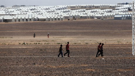 A camp for Syrian refugees in Al-Azraq, Jordan.