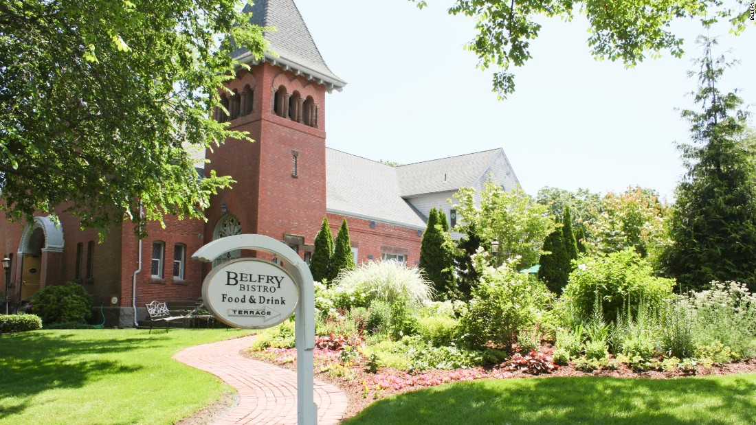 The Abby at Belfry Inn doesn't open its double doors for Sunday services. Visitors can, however, stop by for a continental breakfast or a drink at the Belfry Bistro, a bar and restaurant in the former church hall.
