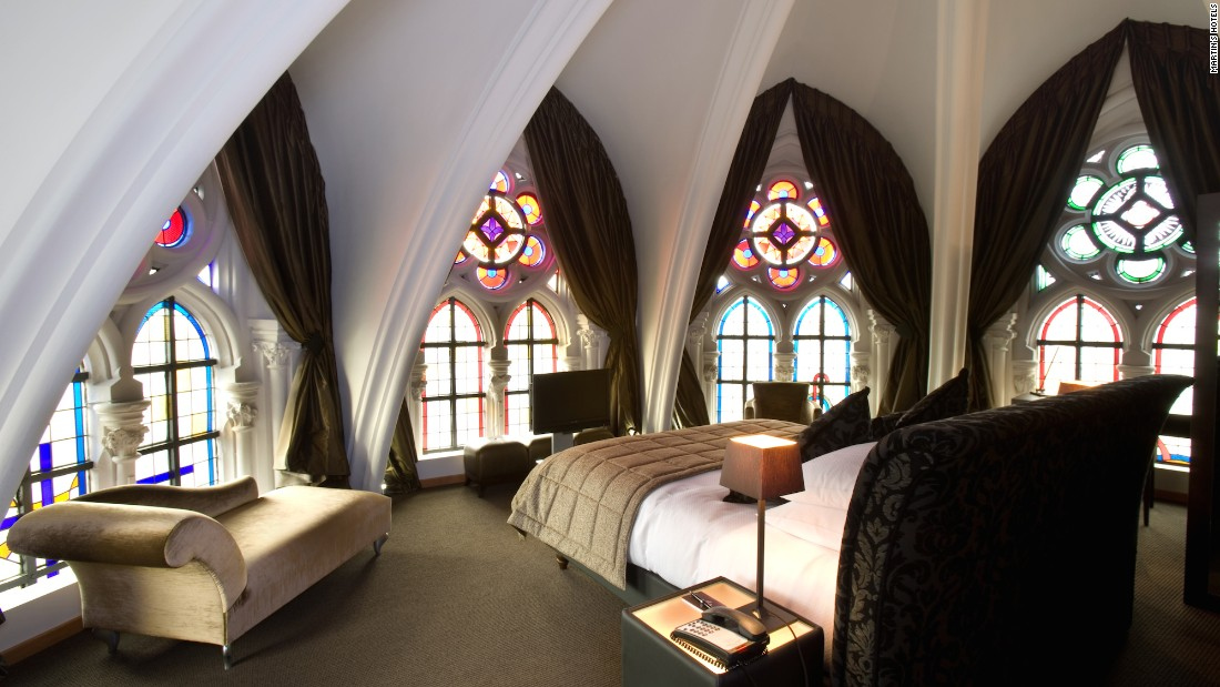 "The best of the hotel's 79 rooms is located ""on the way to heaven,"" just above the church alter, where guests can wake up to the morning sun encased in stained-glass windows."