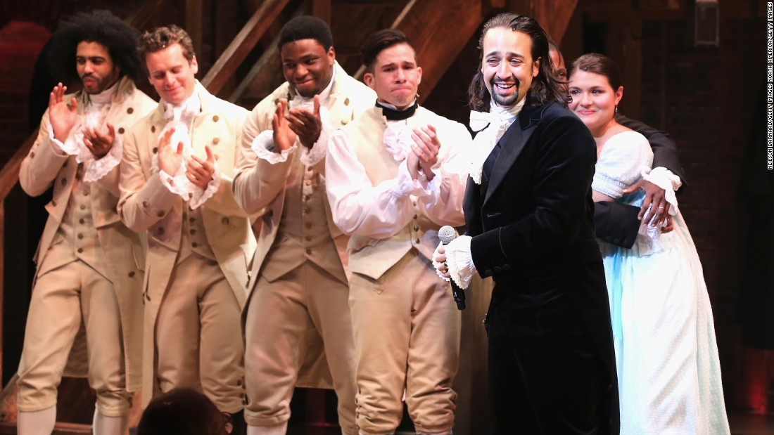 """Hamilton,"" which blends hip hop and other musical styles to recount the life of American founding father Alexander Hamilton, has been the toughest ticket on Broadway since late 2015. The musical by composer-star Lin-Manuel Miranda (second from right) won 11 Tonys, including best musical, and has become a genuine phenomenon. It follows in a long tradition of hugely popular Broadway shows. Click through to see others."