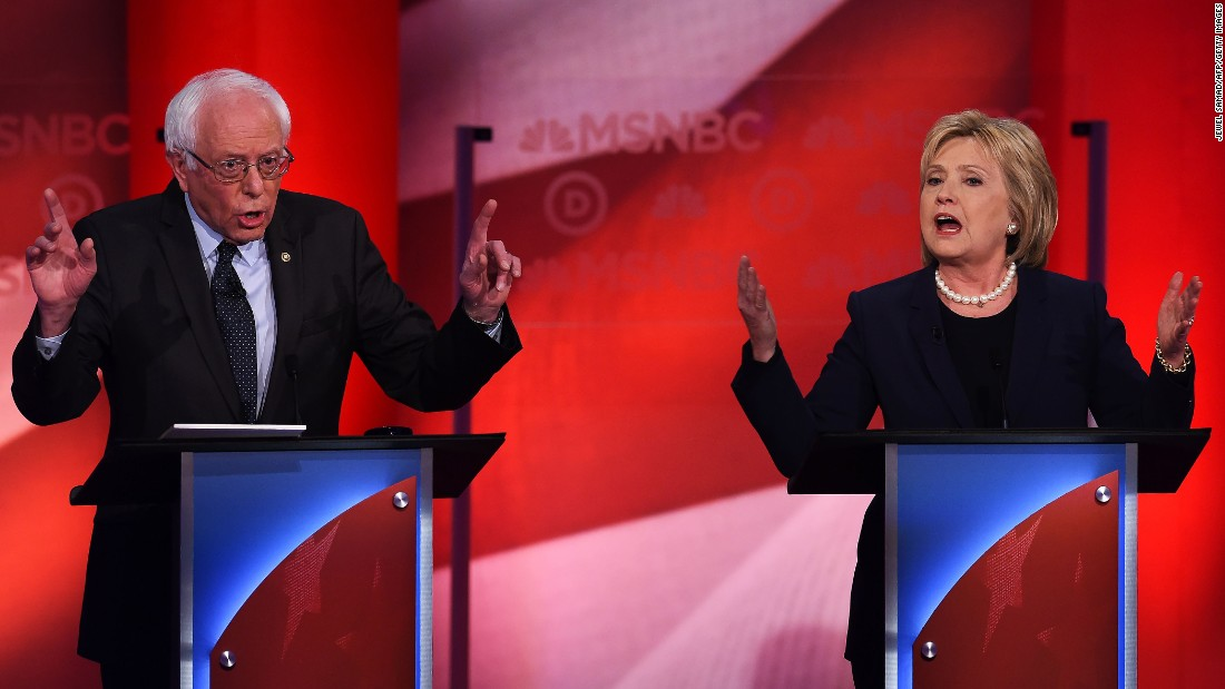 "Democratic presidential candidates Bernie Sanders and Hillary Clinton face off in the <a href=""http://www.cnn.com/2016/02/05/politics/democratic-debate-takeaways-msnbc/"" target=""_blank"">MSNBC Democratic debate</a> at the University of New Hampshire in Durham on Thursday, February 4. Among other topics, <a href=""http://www.cnn.com/2016/02/04/politics/democratic-debate-highlights/"" target=""_blank"">Clinton debated Sanders</a> about his statements that she is trying to be both a moderate and a progressive."