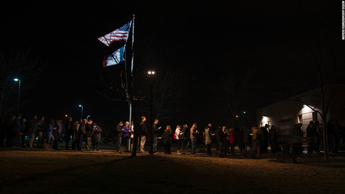"<a href=""http://www.cnn.com/2016/02/01/politics/gallery/iowa-caucuses/index.html"" target=""_blank"">Iowa caucus</a>goers line up outside a Democratic meeting held at Maple Grove Elementary in West Des Moines on Monday, February 1. Former Secretary of State Hillary Clinton and Vermont Sen. Bernie Sanders were deadlocked at 50% after 99% of votes had been counted, but Clinton emerged victorious early the following morning."