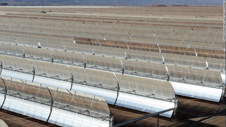 Solar mirrors at the Noor 1 concentrated solar power plant outside the central Moroccan town of Ouarzazate slowly follow the sun as it moves across the sky during the day.