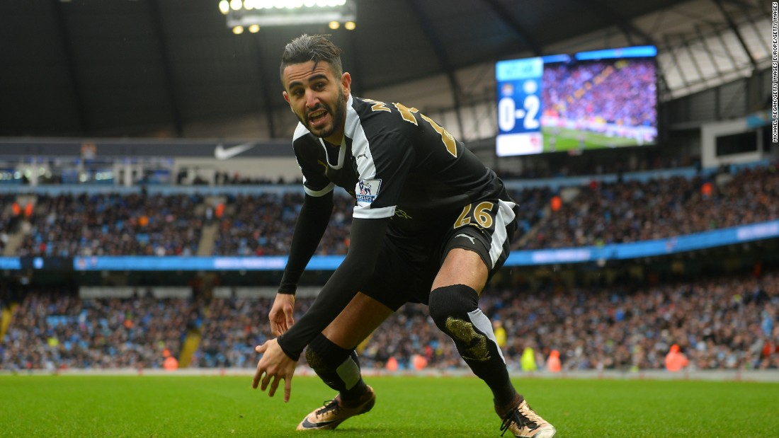 Riyad Mahrez of Leicester City celebrates scoring his team's second goal in a 3-1 drubbing of second-place Manchester City at the Etihad Stadium on Saturday.