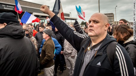 Supporters of the anti-immigrant Pegida movement demonstrate in Calais, France on February 6.