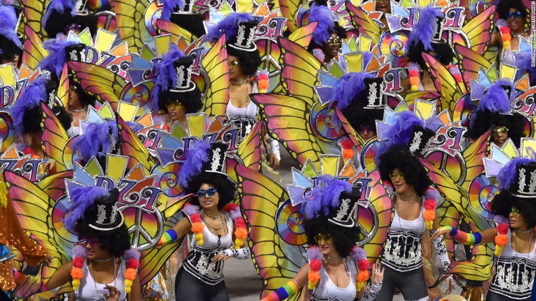 Performers dance at the Sambadrome in Sao Paulo, Brazil, on February 6.