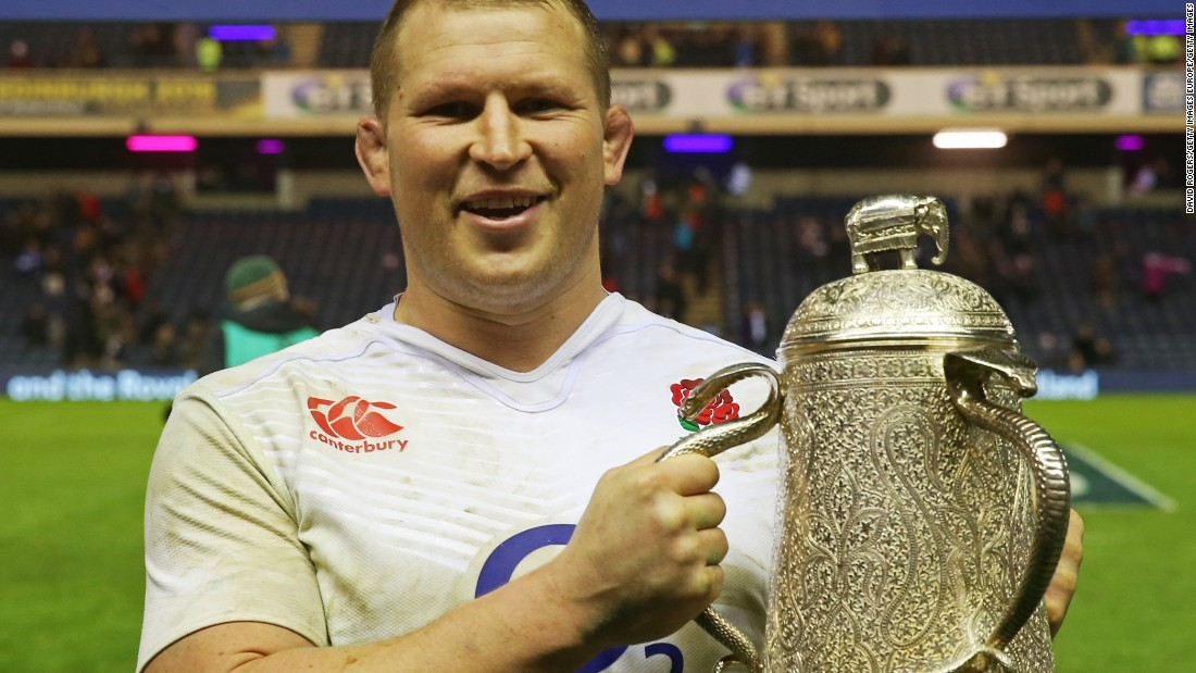 England captain Dylan Hartley poses with the Calcutta Cup following his team's victory during the Six Nations match at Murrayfield Stadium on February 6, 2016. It was England's 70th win in the annual England - Scotland match -- a tradition which began in India in 1872.