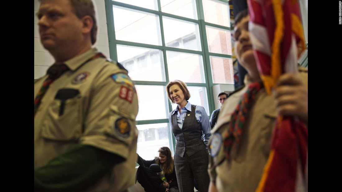 Republican presidential candidate Carly Fiorina waits to be introduced at a campaign event at Maple Avenue Elementary School on Saturday, February, 6.