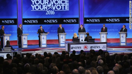MANCHESTER, NH - FEBRUARY 06:  (L-R) Republican presidential candidates Ohio Governor John Kasich, Jeb Bush, Sen. Marco Rubio (R-FL), Donald Trump, Sen. Ted Cruz (R-TX), Ben Carson and New Jersey Governor Chris Christie participate in the Republican presidential debate at St. Anselm College February 6, 2016 in Manchester, New Hampshire. Sponsored by ABC News, the Independent Journal Review and Google, this is the final televised debate before voters go to the polls for the New Hampshire primary on February 9.  (Photo by Joe Raedle/Getty Images)