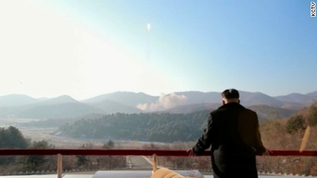 An image released by North Korean state media purports to show Kim Jong Un watching the rocket launch.