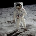 Buzz Aldrin walks on the moon