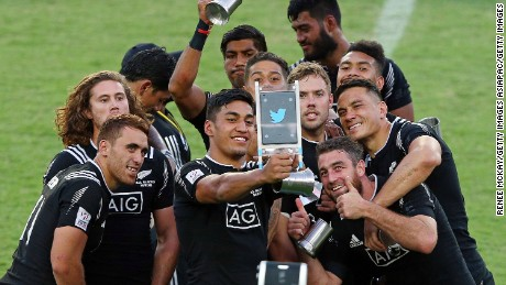 Selfie superstars: The All Blacks team celebrates after its 27-24 win over Australia in the final of the HSBC Sydney Sevens.