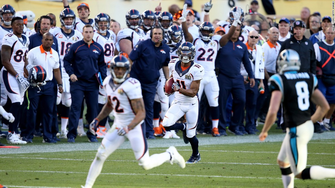 Jordan Norwood returns the ball 61 yards in the second quarter. It is the longest punt return in Super Bowl history.