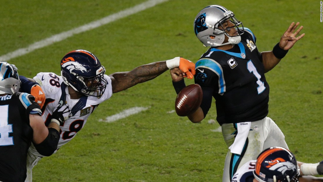 Denver linebacker Von Miller knocks the ball out of Cam Newton's hand during the Broncos' 24-10 victory over Carolina. Miller had two forced fumbles in the game. Both were deep in Carolina territory, and one was recovered by a teammate for a touchdown.