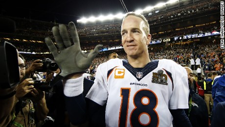 SANTA CLARA, CA - FEBRUARY 07:  Peyton Manning #18 of the Denver Broncos celebrates after defeating the Carolina Panthers during Super Bowl 50 at Levi's Stadium on February 7, 2016 in Santa Clara, California. The Broncos defeated the Panthers 24-10. (Photo by Ezra Shaw/Getty Images)