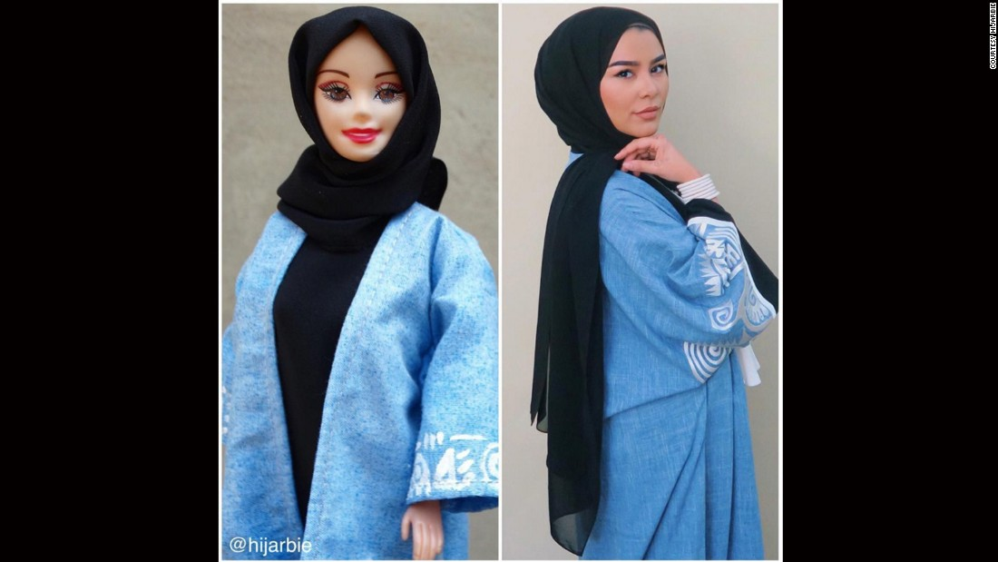 "Adam also draws inspiration from real-life fashionistas. Here, she designs Hijarbie to emulate <a href=""https://www.google.co.uk/url?sa=t&rct=j&q=&esrc=s&source=web&cd=5&cad=rja&uact=8&ved=0ahUKEwj5xJH0iujKAhXGqxoKHSQxAiAQFggsMAQ&url=https%3A%2F%2Fwww.instagram.com%2Flifelongpercussion%2F%3Fhl%3Den&usg=AFQjCNGM6Dv7rLVIrtkki3xqG9v3h9JDQA&sig2=n6diQrdvJoPeHt6_st0kNA&bvm=bv.113370389,d.bGs"" target=""_blank"">popular beauty and lifestyle vlogger Habiba Da Silva. </a>"