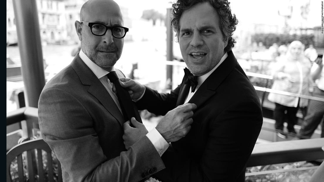 "<a href=""https://www.instagram.com/p/7LX5eRm5Pj/?taken-by=gregwilliamsphotography"" target=""_blank"">Stanley Tucci and Mark Ruffalo </a>at the Gritti Palace on the Grand Canal in Venice before attending the screening of Tom McCarthy's <em>Spotlight</em> at the Venice Film Festival."