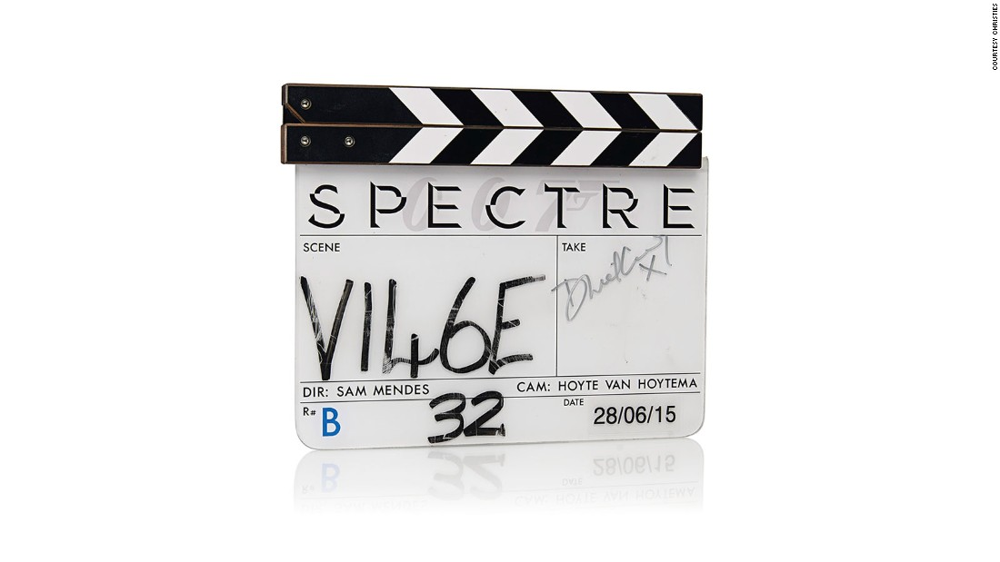 "A clapper board from the film, signed by Daniel Craig, could raise $4,000 for charity. It is still available via the <a href=""https://onlineonly.christies.com/s/james-bond-spectre-the-online-sale/lots/217"" target=""_blank"">online auction</a>."