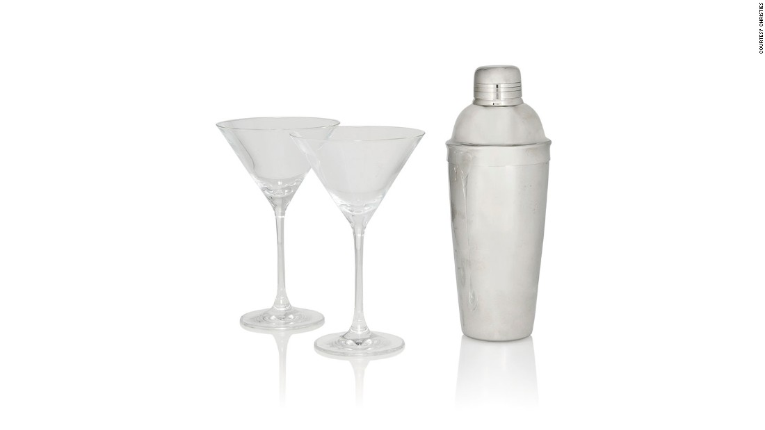 "A martini shaker and two cocktail glasses -- James Bond staples -- from the film are expected to sell for over $4,000. These are still available via the <a href=""https://onlineonly.christies.com/s/james-bond-spectre-the-online-sale/lots/217"" target=""_blank"">online auction</a>."