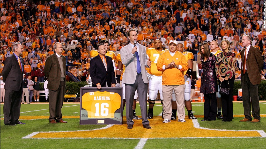 Manning has his college jersey retired before a Tennessee game in 2005.