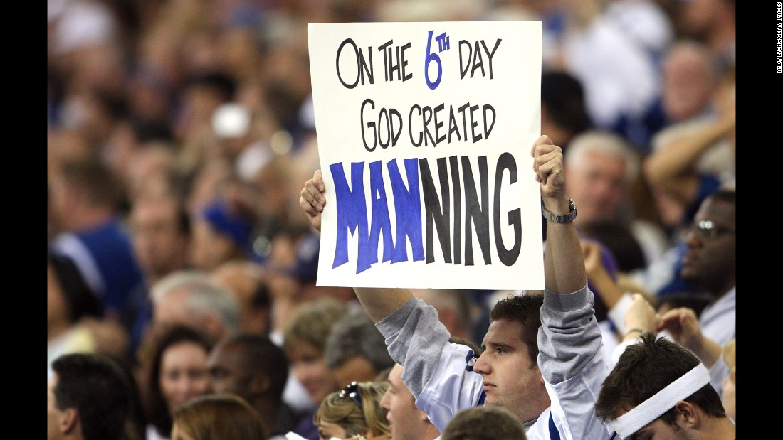A Colts fan shows his support for Manning during a home game in 2007.