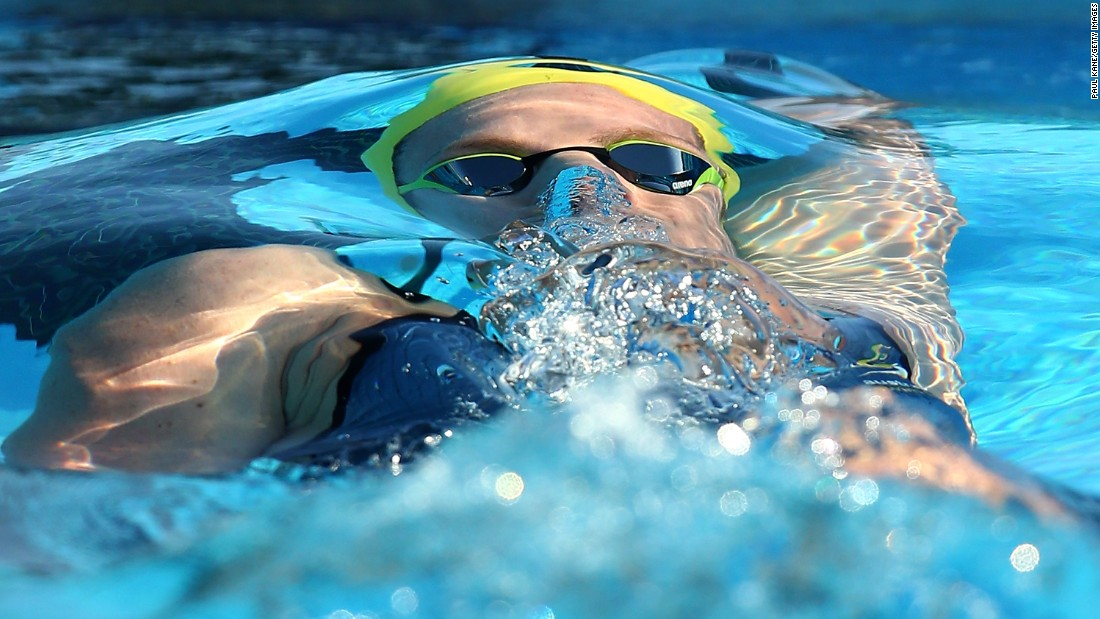 Emily Seebohm swims the 100-meter backstroke during the Aquatic Super Series in Perth, Australia, on Saturday, February 6. Seebohm, Australia's record holder in the event, won with a time of 59.03 seconds.