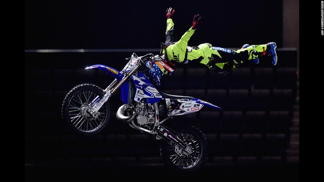 A member of the Nitro Circus rehearses in Glasgow, Scotland, on Thursday, February 4.