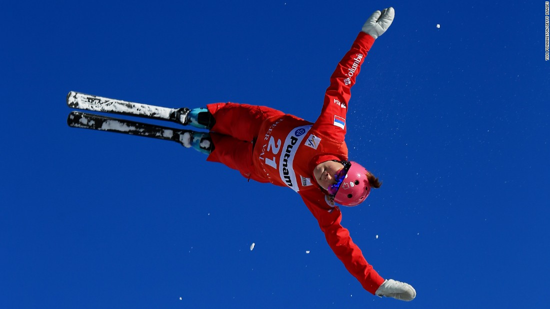 Russian skier Liubov Nikitina makes a practice run before a World Cup aerials event in Park City, Utah, on Wednesday, February 3.