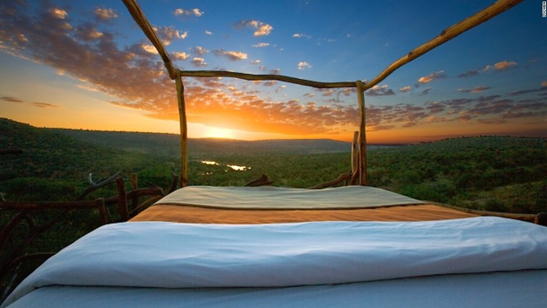 Private wildlife conservancy Loisaba offers Starbeds -- wooden platforms partially covered with thatch that can be wheeled around for maximum exposure to breathtaking night skies.