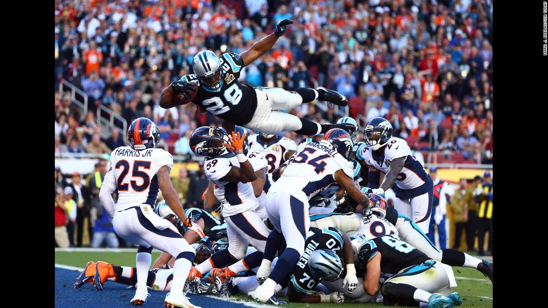 Carolina running back Jonathan Stewart dives into the end zone for the Panthers' only touchdown in Super Bowl 50.