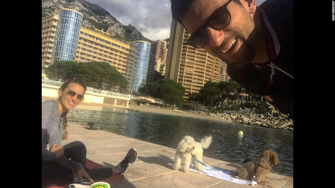 "Novak Djokovic, the world's top-ranked tennis player, takes a selfie with his wife, Jelena, and two dogs on Tuesday, February 9. ""How does your #perfectmorning look?"" <a href=""https://www.instagram.com/p/BBjvlojzP41/"" target=""_blank"">he said on Instagram.</a>"