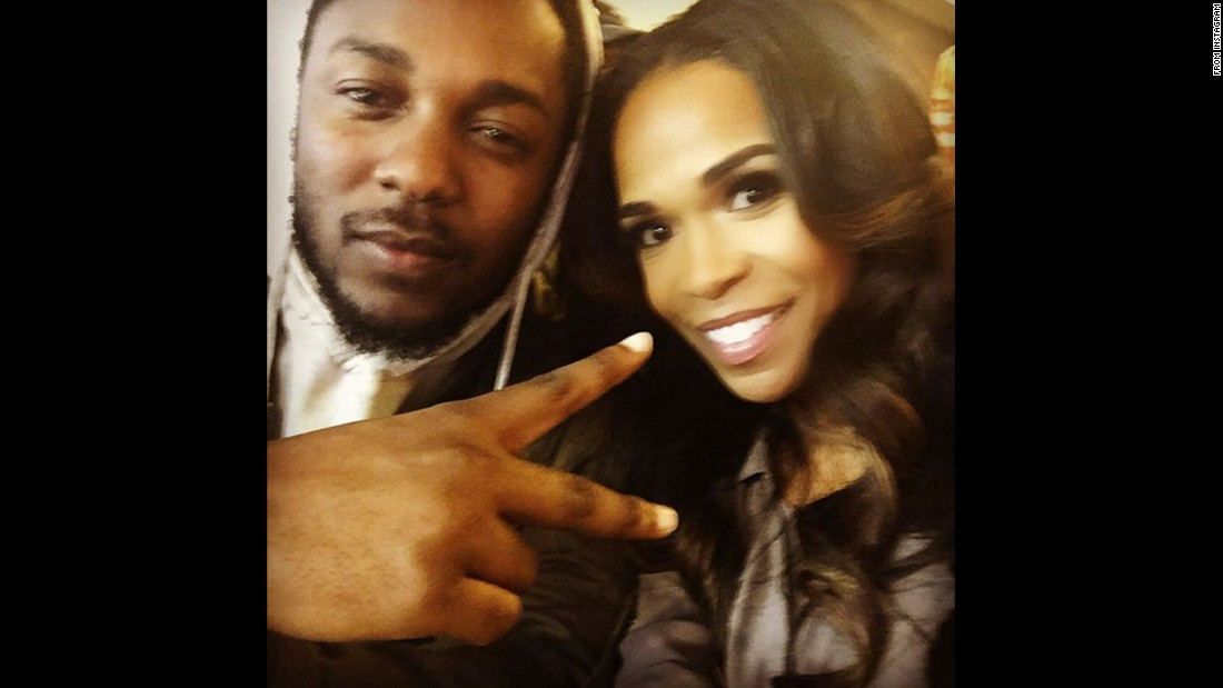 "Singer Michelle Williams <a href=""https://www.instagram.com/p/BBgu49lqfXd/"" target=""_blank"">takes a selfie</a> with rapper Kendrick Lamar on Sunday, February 7."