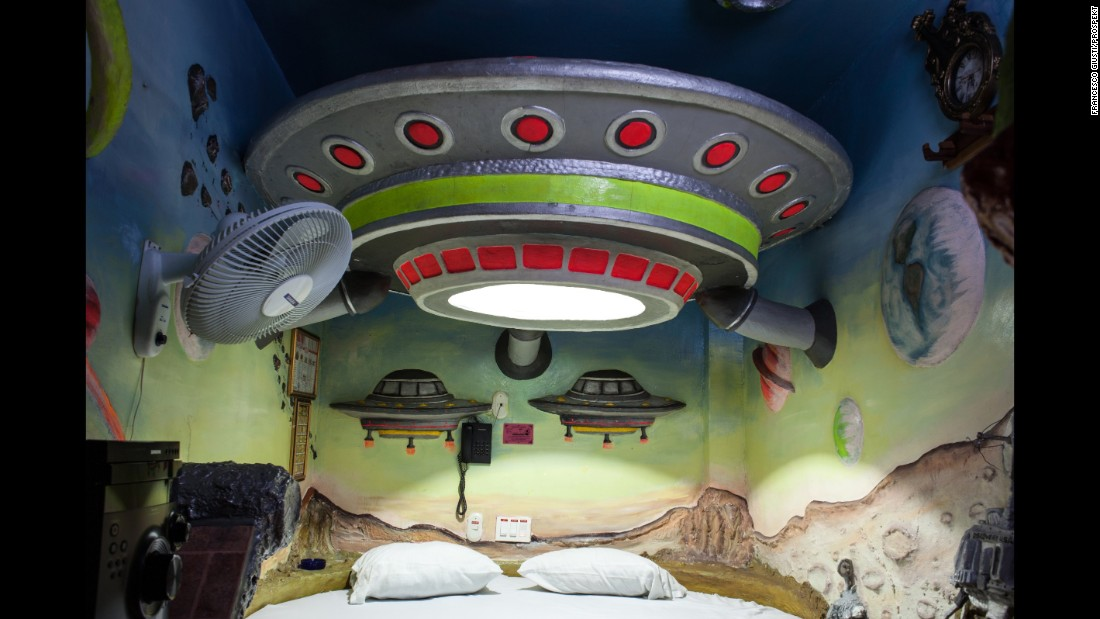 A spaceship-themed room in the Kiss Me Motel. Many love-motel rooms are elaborately decorated.