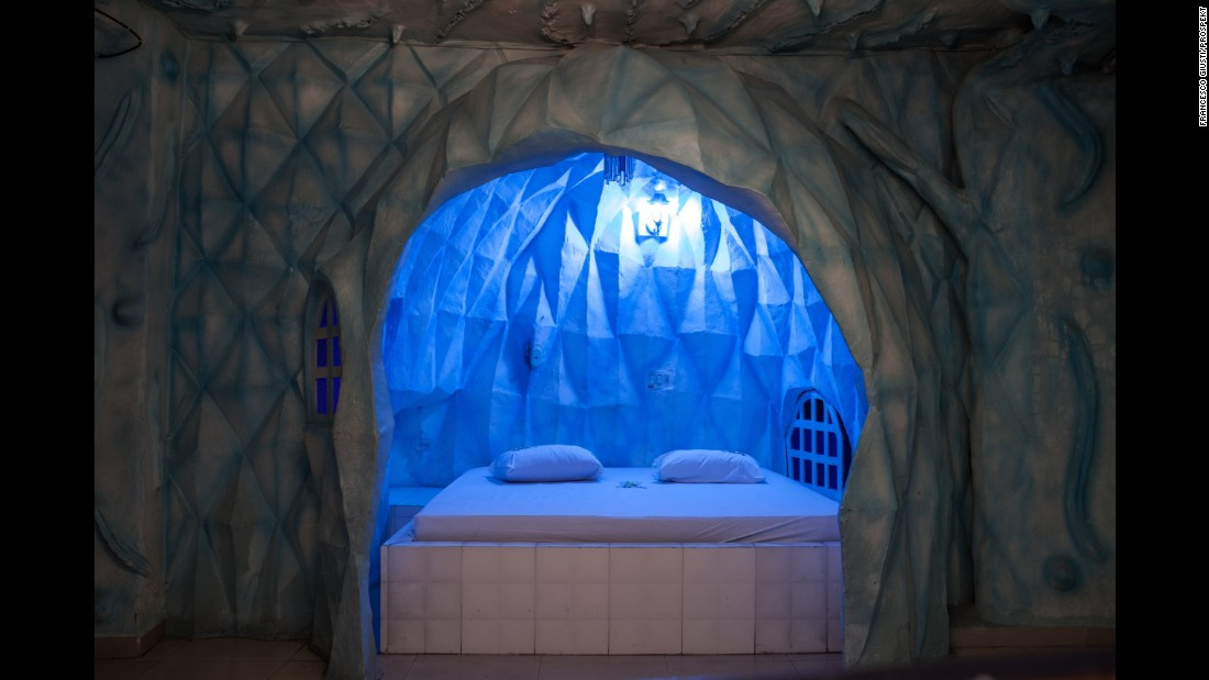 An igloo-themed room at the Kiss Me Motel.