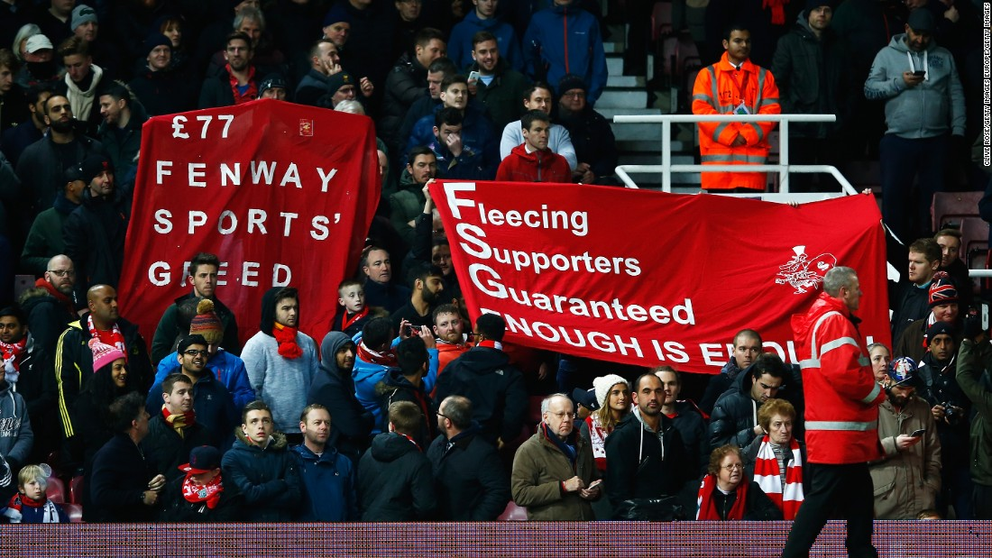This was in protest against the recent announcement that match day tickets would increase to £77 ($111.80) and that Fenway Sports Group, Liverpool's owners, have introduced the first ever £1000 ($1450.10) season ticket.