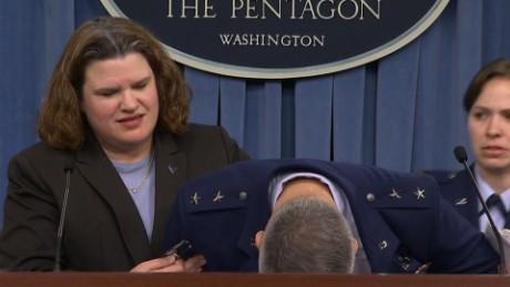 Major General James Martin Jr. faints press conference_00000515