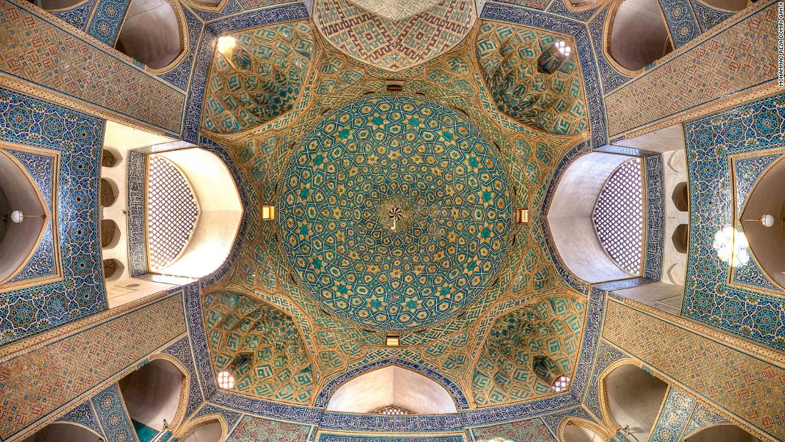 """When I entered the mosque I was amazed by the fantastic artwork in its ceiling,"" says Ganji. ""It got my attention and when I saw that view, I wanted to photograph it."""