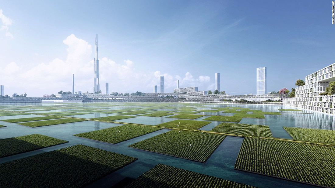 In the proposal, the skyscraper would be a part of a greater eco-district. Urban-farm plots would float in the surrounding waters.