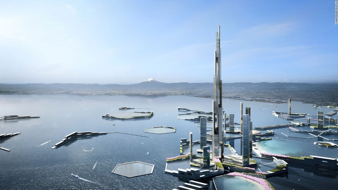 "The 1,600 meter tower is part of a future city concept named ""Next Tokyo 2045,"" which envisions a floating mega-city in Tokyo Bay. <br /><br /><strong>Height: </strong>1,600m<strong> </strong>(5,250ft) <br /><strong>Architect: </strong>Kohn Pefersen Fox Associates and Leslie E Robertson Associates"