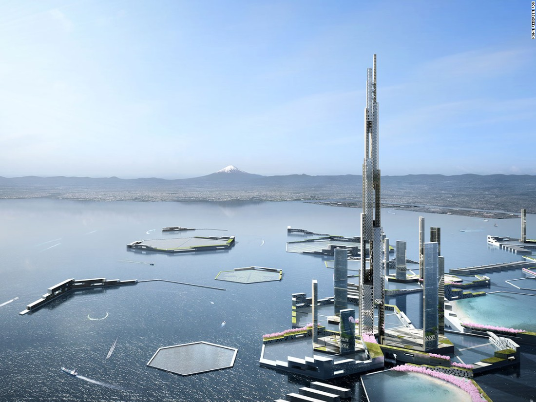 "The 1,600 meter -- one entire mile -- tower is part of a future city concept named ""Next Tokyo 2045,"" which envisions a floating mega-city in Tokyo Bay."