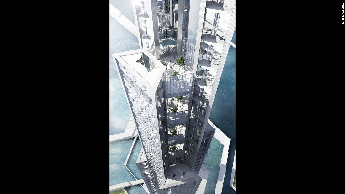 Open-air sky decks are found at different levels of the building.
