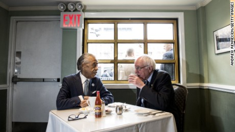 Democratic presidential candidate Sen. Bernie Sanders (D-VT) meets with Reverend Al Sharpton at Sylvia's Restaurant on February 10, 2016 in the Harlem neighborhood of New York City.