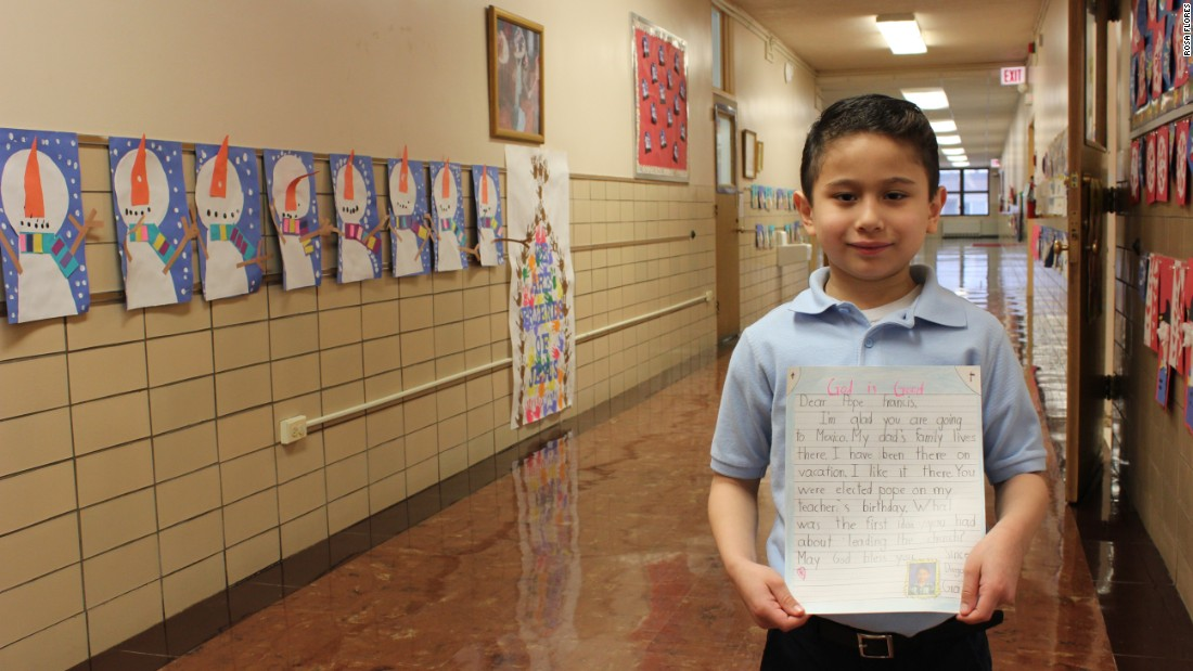 First-grader Diego Mora tells Pope Francis he is glad the pontiff is heading to Mexico.