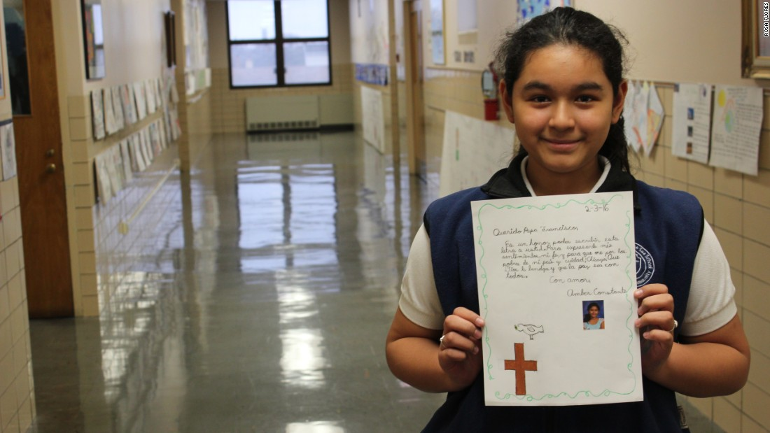 Amber Constante says it is an honor to write to the Pope, and she is happy he is visiting Mexico.