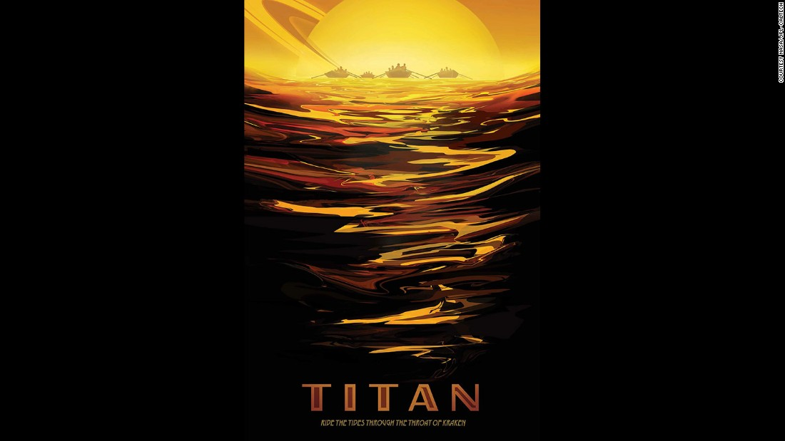 """Titan, Saturn's largest moon, has a surface shaped by rivers and lakes of liquid ethane and methane. In this depiction, visitors could paddle through the <a href=""""http://www.nasa.gov/content/exploring-the-depths-of-titan-s-seas"""" target=""""_blank"""">Kraken Mare.</a>"""