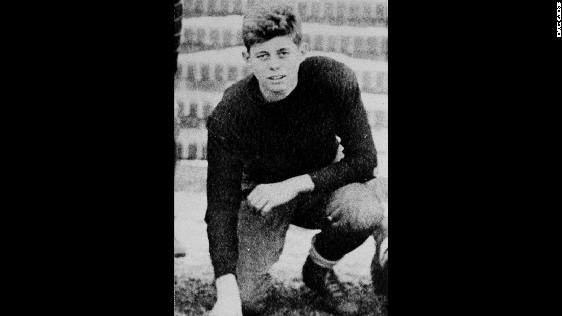 Kennedy attended Choate boarding school in Connecticut, where he was popular and played a variety of sports. He's pictured here on the school's football team at age 16.  He graduated and entered Harvard University in 1936.