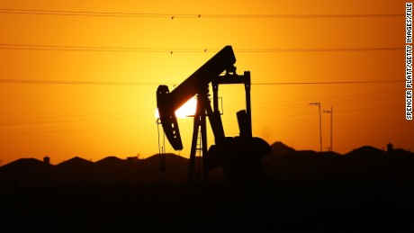 MIDLAND, TX - JANUARY 20: A pumpjack   sits on the outskirts of town at dawn in the Permian Basin oil field on January 21, 2016 in the oil town of Midland, Texas. Despite recent drops in the price of oil, many residents of Andrews, and similar towns across the Permian, are trying to take the long view and stay optimistic. The Dow Jones industrial average plunged 540 points on Wednesday after crude oil plummeted another 7% and crashed below $27 a barrel.  (Photo by Spencer Platt/Getty Images)