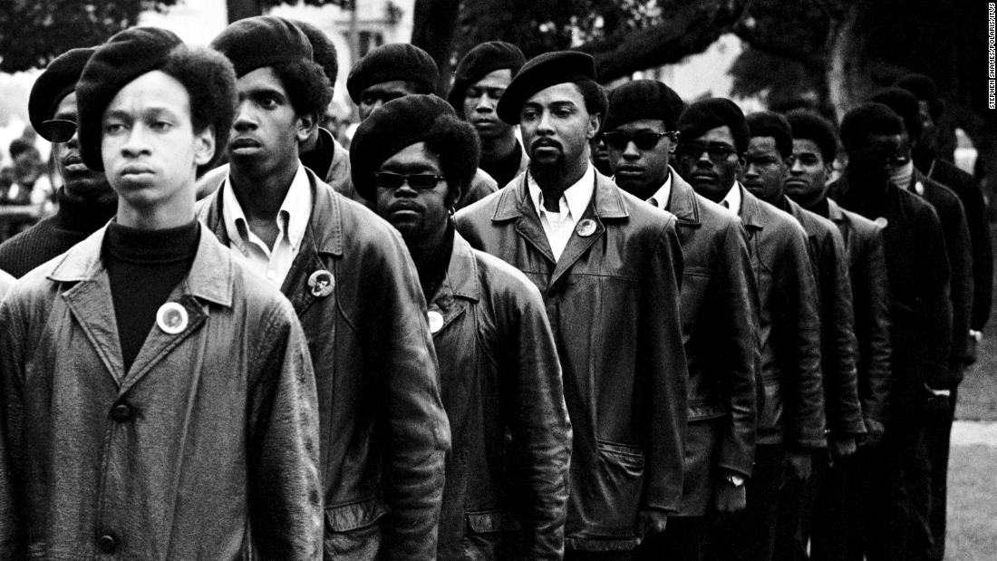 Panthers line up at a rally in DeFremery Park, in Oakland, California. The Panthers' focus on police brutality in the black community and racial bias in the criminal justice system anticipated the Black Lives Matter movement 50 years later.